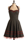 All Shook Up Dress - Black, Red, White, Polka Dots, Trim, Party, Casual, Vintage Inspired, A-line, Halter, Short, Rockabilly, Pinup