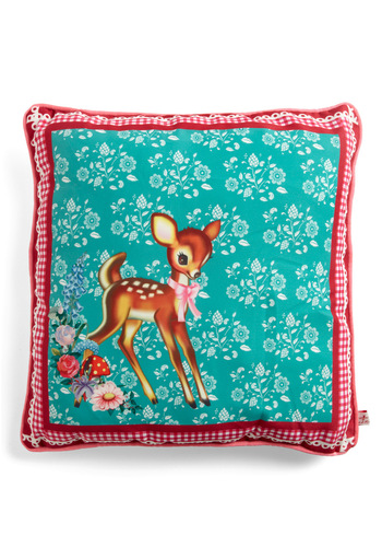 All Fawn and Games Pillow by Wu & Wu - Blue, Red, Brown, White, Floral, Print with Animals