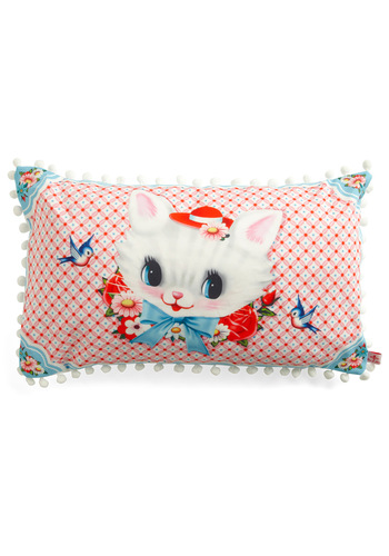 Cat Miss It Pillow by Wu & Wu - Pink, Multi, Red, Blue, White, Print with Animals, Poms