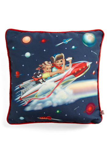 Joe's Space Out Pillow - Blue, Red, White, Novelty Print