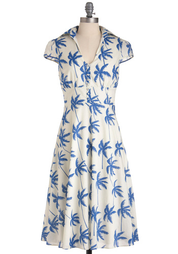 Palm of Your Hand Dress - Long, Casual, Nautical, Blue, Tan / Cream, Print, Vintage Inspired, 50s, Shirt Dress, Cap Sleeves, Summer