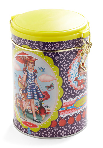 Contain Your Excitement Tea Canister by Wu & Wu - Purple, Yellow, Novelty Print