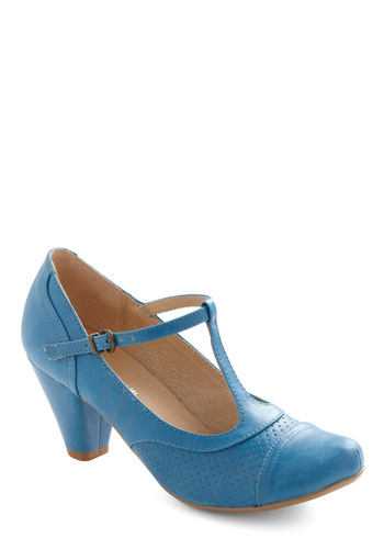 Just Like Honey Heel in Blueberry by Chelsea Crew - Blue, Solid, Buckles, Work, Mid, Mary Jane, Variation
