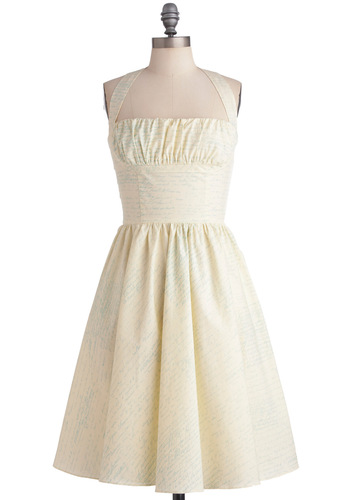 Yours Always Dress by Bernie Dexter - Wedding, Vintage Inspired, Cream, Print, A-line, Halter, Blue, Pockets, 50s, Long