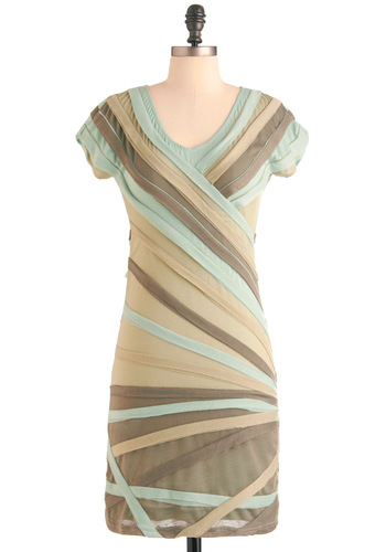 Sage Tonight Dress - Mid-length, Green, Brown, Tan / Cream, Stripes, Casual, Shift, Short Sleeves, Bodycon / Bandage, V Neck