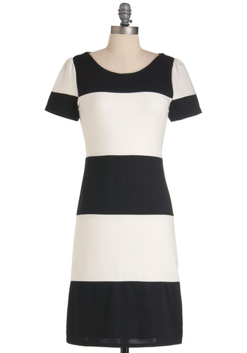 Contrast but Not Least Dress - Mid-length, Casual, Urban, White, Stripes, Shift, Short Sleeves, Black