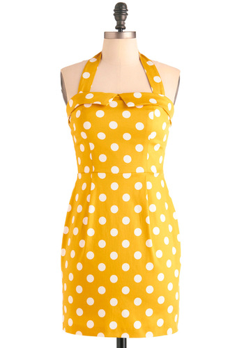 Solar Fair Dress - Short, Party, Pinup, Vintage Inspired, Yellow, White, Polka Dots, Sheath / Shift, Halter