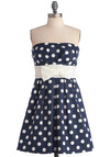 Among My Piers Dress - Nautical, Blue, White, Polka Dots, Bows, Lace, Pleats, A-line, Strapless, Mid-length, Cotton, Belted, Daytime Party, Fit & Flare, Summer