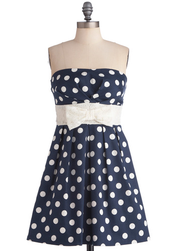 Among My Piers Dress - Nautical, Blue, White, Polka Dots, Bows, Lace, Pleats, A-line, Strapless, Mid-length, Cotton, Belted, Daytime Party, Fit & Flare, Summer, Top Rated