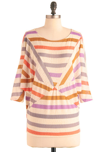Get Your Pinwheels Turning Top - Casual, Urban, Multi, Stripes, 3/4 Sleeve, Orange, Purple, Mid-length