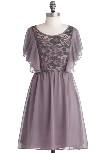 Romance in the Study Dress - Mid-length, Purple, Floral, Lace, Ruffles, A-line, Grey, Party, Short Sleeves, Pastel, Sheer