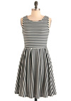 What's the Lineup? Dress - Mid-length, Urban, Black, White, Stripes, A-line, Sleeveless, Nautical