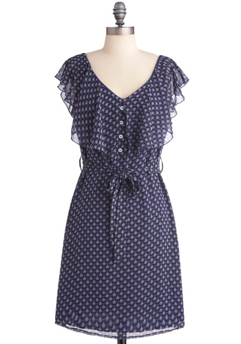 Fan-tastic! Dress - Mid-length, Blue, Print, Buttons, Ruffles, Sheath / Shift, Cap Sleeves, Purple, Pink