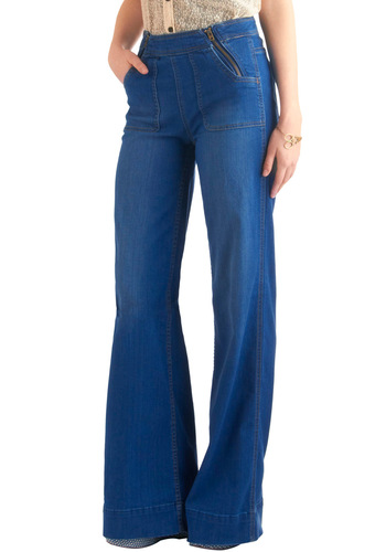Kick Ball Club Jeans by Blank NYC - Casual, Vintage Inspired, 70s, Blue, Long, Exposed zipper, Boho, Denim