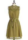 Kiwi to Success Dress - Mid-length, Boho, Green, Lace, Tiered, Sleeveless, Solid, Belted, Sheer