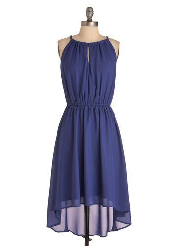 Bluebell of the Ball Dress - Mid-length, Blue, Solid, Party, Halter