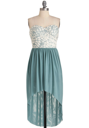 Ice Flow Dress - Short, Special Occasion, Green, White, Lace, Wedding, Party, Strapless