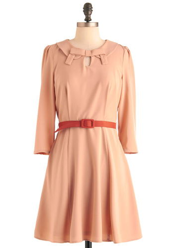 Treat You to Breakfast Dress - Mid-length, Vintage Inspired, 60s, Orange, Solid, Bows, Cutout, A-line, 3/4 Sleeve, Pastel, Belted, Collared