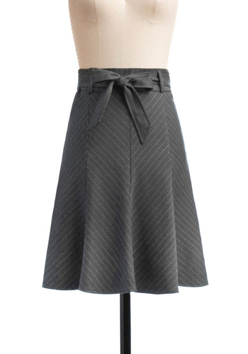 Profesh Pinstripes Skirt in Charcoal - Mid-length, Grey, Stripes, Bows, Work, Menswear Inspired, White, A-line