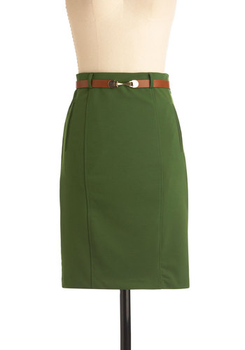 Give It a Forest Skirt - Mid-length, Green, Solid, Work, Vintage Inspired, 60s, Pockets, Belted, Pencil, High Waist, Tis the Season Sale