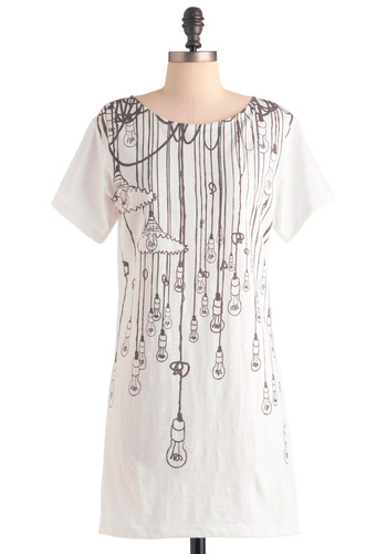 On the Bulb Tunic - Long, Casual, White, Black, Short Sleeves, Print