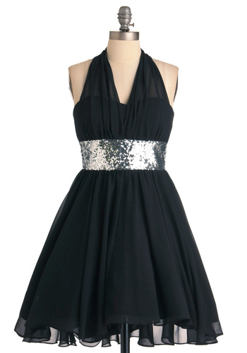 Enchanted Evening Dress - Black, Silver, Solid, A-line, Halter, Formal, Vintage Inspired, Sequins, Prom, Mid-length
