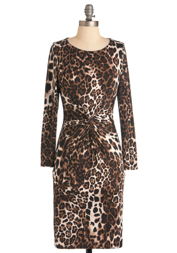 Wild About Fashion Dress - Mid-length, Safari, Brown, Multi, Black, White, Animal Print, Party, Sheath / Shift, Long Sleeve, Girls Night Out