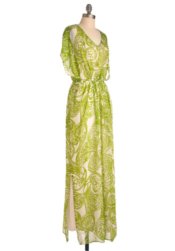 You Caftan Have it All Dress - Long, Casual, Vintage Inspired, 70s, Green, Tan / Cream, Paisley, Maxi, Short Sleeves, Summer
