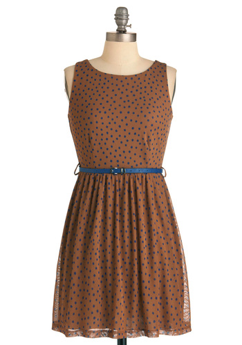 Spot Chocolate Dress - Mid-length, Casual, Vintage Inspired, Brown, Blue, Polka Dots, Buckles, Sheath / Shift, Sleeveless