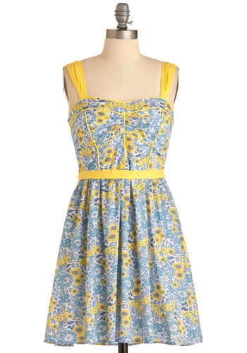 Blueberry Lemonade Dress - Mid-length, Casual, Yellow, Floral, A-line, Tank top (2 thick straps), Summer, Cotton, Sweetheart, Multi