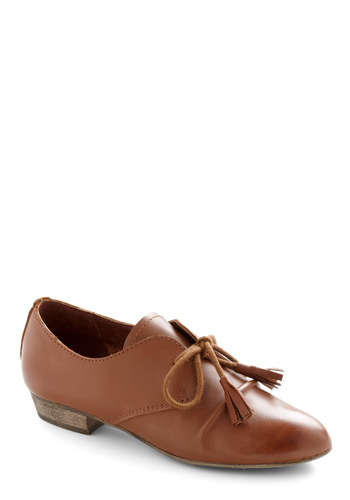 Schoolhouse Walk Flat by Chelsea Crew - Brown, Solid, Tassels, Work, Menswear Inspired