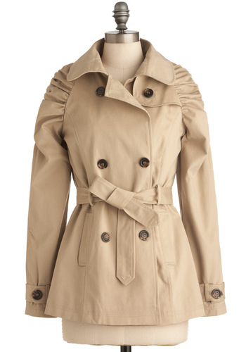 Waiting on a Park Bench Coat - Casual, Urban, Solid, Long Sleeve, Tan, Buttons, Pockets, 2, Mid-length