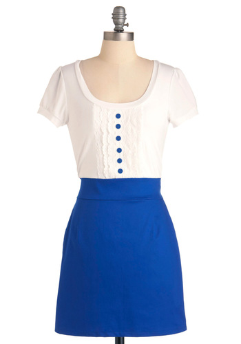 Jubilantly Yours Dress - Mid-length, Casual, Blue, White, Buttons, Lace, Shift, Twofer, Scallops, Short Sleeves