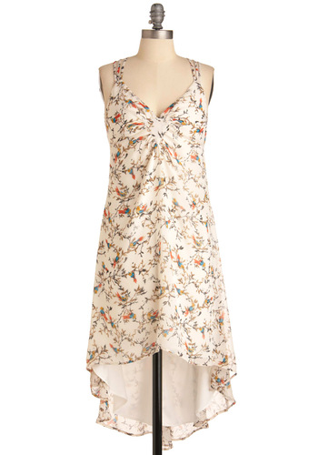 Birdsong of Spring Dress - Mid-length, White, Backless, Sheath / Shift, Sleeveless, Casual, Multi, Orange, Yellow, Blue, Brown, Print with Animals, Print, Boho, Summer, Chiffon, High-Low Hem, V Neck