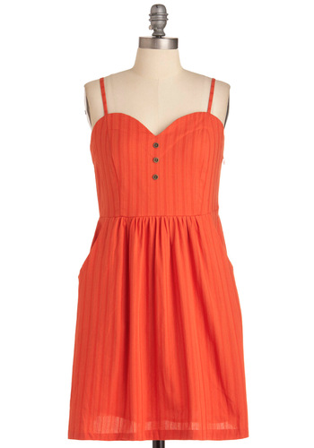 Cherry Ice to Meet You Dress by Tulle Clothing - Mid-length, Casual, Orange, Buttons, Pockets, Spaghetti Straps, Summer