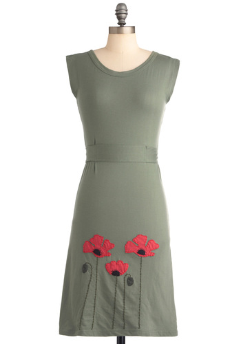 Planting Poppies Dress - Mid-length, Casual, Green, Red, Solid, Embroidery, Sheath / Shift, Sleeveless, Eco-Friendly, Cotton, Travel