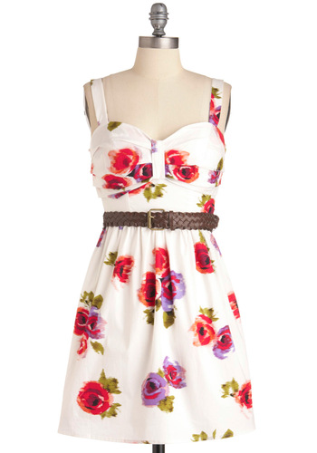 Painting the Peonies Dress - Multi, Floral, A-line, Tank top (2 thick straps), Vintage Inspired, White, Short
