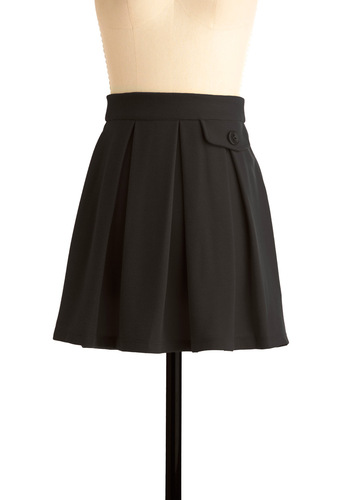 Picnic and Choose Skirt in Black - Short, Casual, Black, Solid, Buttons, Pleats, Pockets, Mini