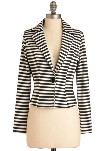 Modern Influence Blazer - Short, White, Stripes, Nautical, Long Sleeve, Work, Vintage Inspired, Black, 1