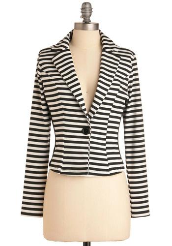 Modern Influence Blazer - Short, White, Stripes, Nautical, Long Sleeve, Work, Vintage Inspired, Black, 1