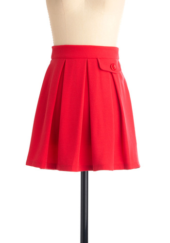 Picnic and Choose Skirt in Coral - Short, Casual, Red, Solid, Buttons, Pleats, Pockets, A-line, Mini