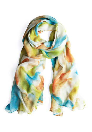 Flutter You Up To? Scarf - Multi, Orange, Yellow, Green, Blue, Print, Casual, Tan / Cream, Boho