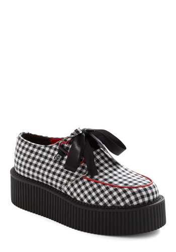 Gingham It Up Flatform - Red, White, Checkered / Gingham, Rockabilly, Black, Trim, 90s, Faux Leather, Platform, Lace Up, Low, Wedge