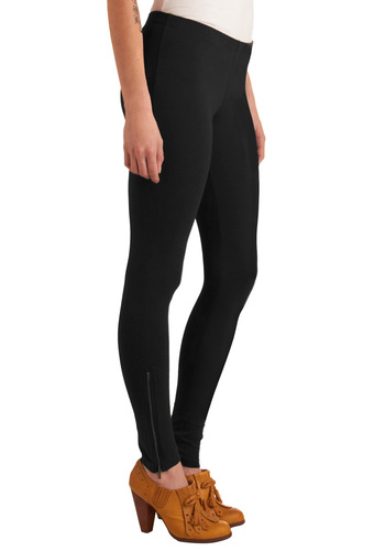 More Black Coffee Please Leggings - Long, Black, Bronze, Solid, Exposed zipper