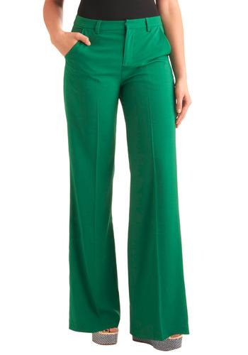 Grasshoppers on the Green Pants - Work, Statement, Green, Solid, Long