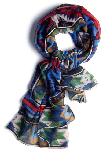 The Best is Palette to Come Scarf - Casual, Folk Art, Blue, Multi, Multi, Print