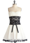 Storied Romance Dress in Snow - Fairytale, White, Black, Lace, Wedding, A-line, Strapless, Bows, Trim, Prom, Mini, Mid-length, Cocktail, Bride, Folk Art