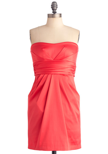 Danced All Bright Dress in Pink - Prom, Wedding, Orange, Solid, Pleats, Pockets, Party, Mini, Sheath / Shift, Strapless, Mid-length, Coral