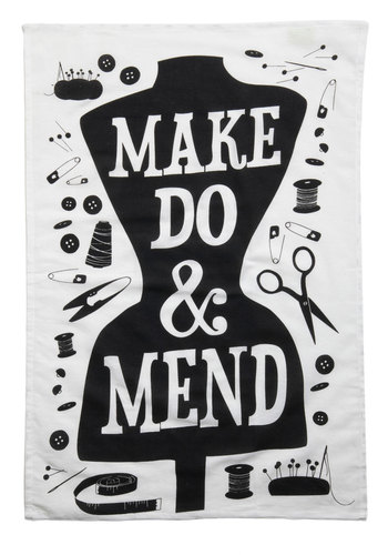 Word Up Tea Towel in Mend - Black, White, Print, Handmade & DIY
