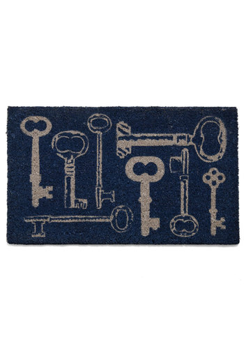 Home at Last Doormat in Keys - Blue, Tan / Cream, Dorm Decor